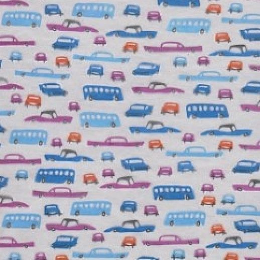 Autos Retro-Cars Cotton Baumwolle Interlock blau
