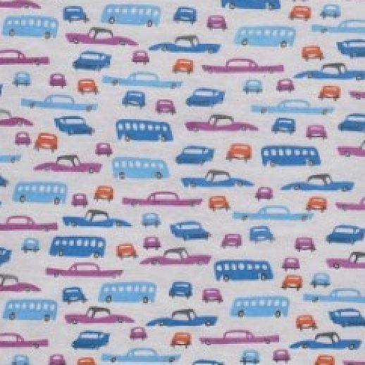 REST 30cm NICKY Blaue Autos Retro Design - Velour - Baumwolle - kuschelig weich
