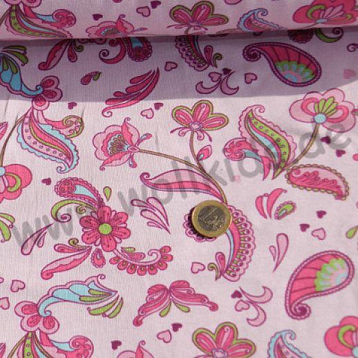 Jersey - Baumwolle - Paisley auf rosa - wunderschön - Top Qualität