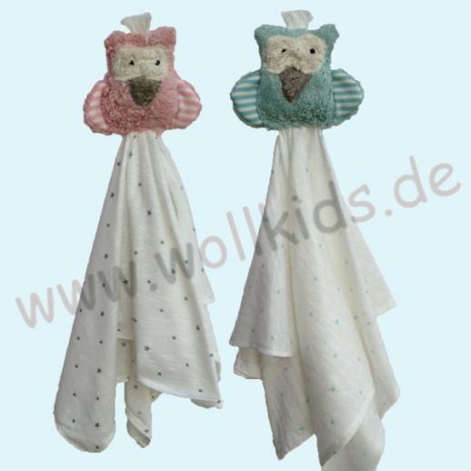 Pat & Patty: Schnuffeltuch Schmusetuch Spuktuch Eule rosa oder bleu 100% kbA Baumwolle