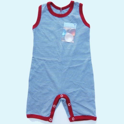 NEU: Storchenkinder Spieler Strampelhose Body - unisex - blau Ringel - BIO Baumwolle
