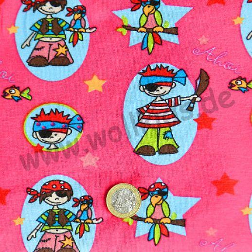 Rest 36cm Jersey - Baumwolle - Piratenmädels auf pink - sehr hochwertige Qualität