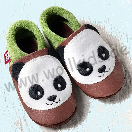 POLOLO: Krabbelpuschen - Hausschuhe, Motiv: Panda braun grün BIO Leder IVN zertifiziert
