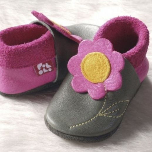 POLOLO: Krabbelpuschen - Hausschuhe, Motiv: Jasmin olive - pink IVN Leder