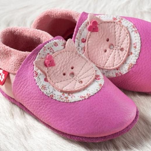 POLOLO: Krabbelpuschen Hausschuhe, Motiv: Kittybell Katze rosa pink BIO IVN Leder