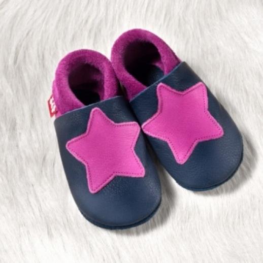 POLOLO: Krabbelpuschen - Hausschuhe, Motiv: kleiner Stern pink blau BIO