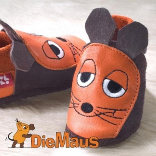 POLOLO: Krabbelpuschen Hausschuhe, Motiv: Sendung mit der Maus - Maus BIO Leder
