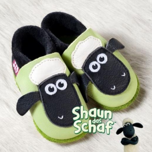 POLOLO: Krabbelpuschen Hausschuhe, Motiv: Shaun das Schaf - Ente BIO Leder
