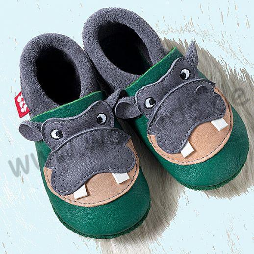 POLOLO: Krabbelpuschen Hausschuhe, Motiv: Hippo grau grün BIO IVN Leder