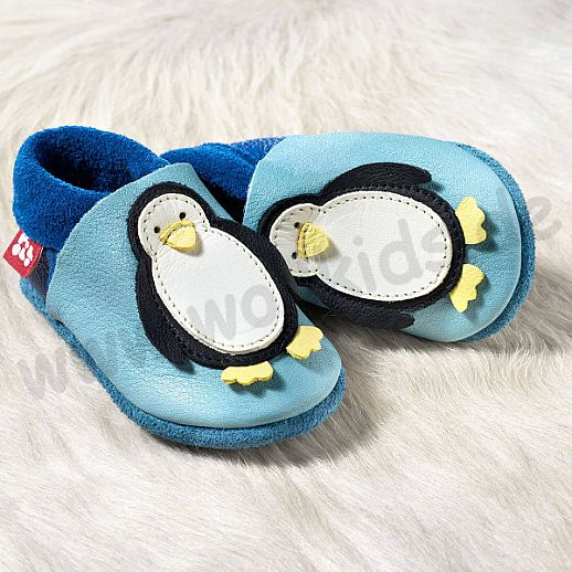 POLOLO: Krabbelpuschen - Hausschuhe, Motiv: Pinguin blau BIO