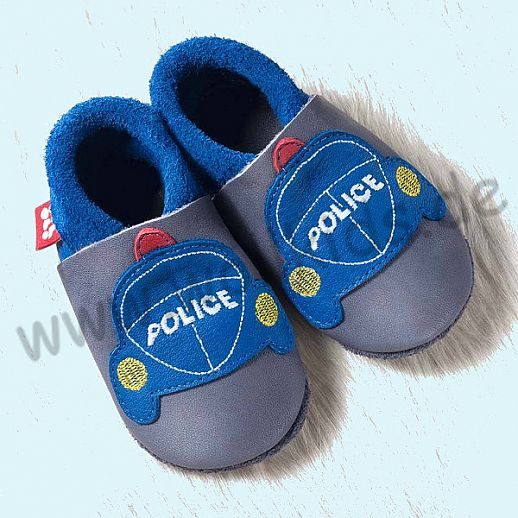 POLOLO: Krabbelpuschen - Hausschuhe, Motiv:Polizei blau grau BIO Leder IVN zertifiziert