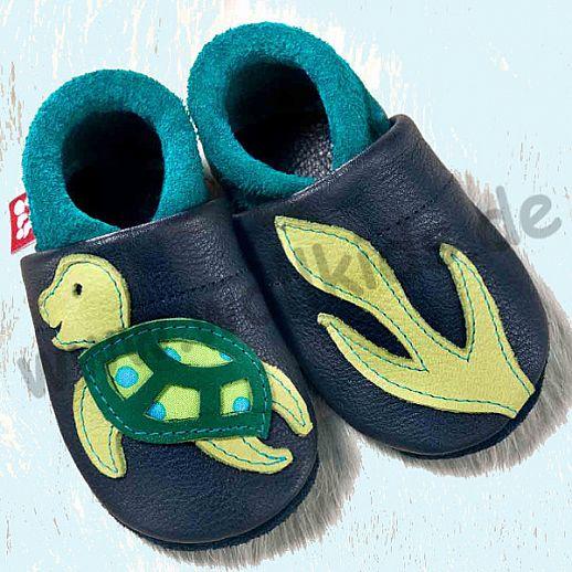 POLOLO: Krabbelpuschen/ Hausschuhe, Motiv: Schildkröte blau grün ÖKO Leder
