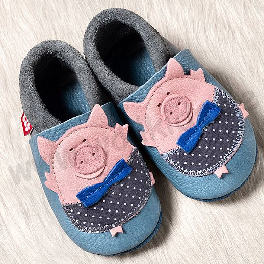 POLOLO: Krabbelpuschen - Hausschuhe, Motiv: Schweinchen stoneblue BIO Leder IVN zertifiziert