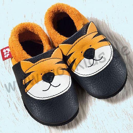 POLOLO: Krabbelpuschen - Hausschuhe, Motiv: Tiger Tom orange BIO Leder IVN zertifiziert