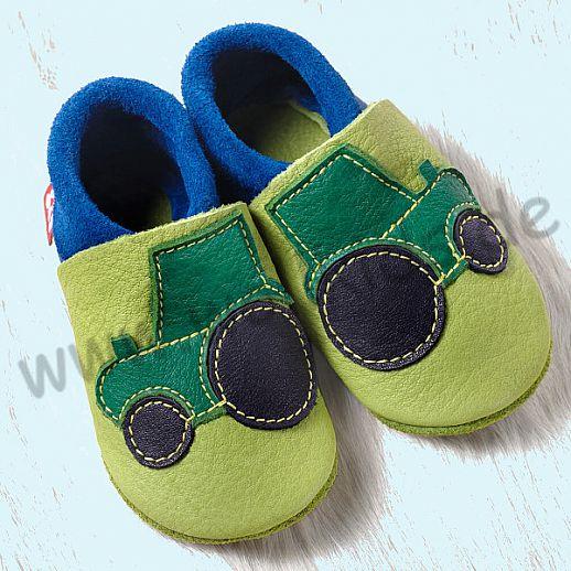 POLOLO: Krabbelpuschen/ Hausschuhe, Motiv: Trecker blau grün ÖKO Leder