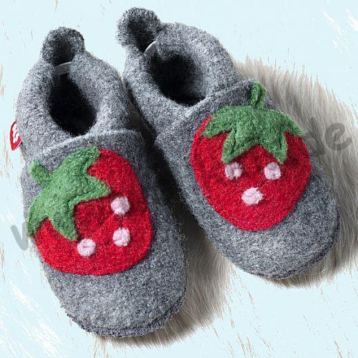 POLOLO: WOLLI Krabbelpuschen - Hausschuhe, Motiv: Erdbeere Wolle Walk BIO Ledersohle