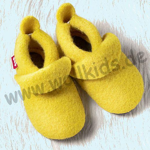POLOLO: WOLLI Krabbelpuschen - Hausschuhe, uni lemon Wolle Walk BIO Ledersohle