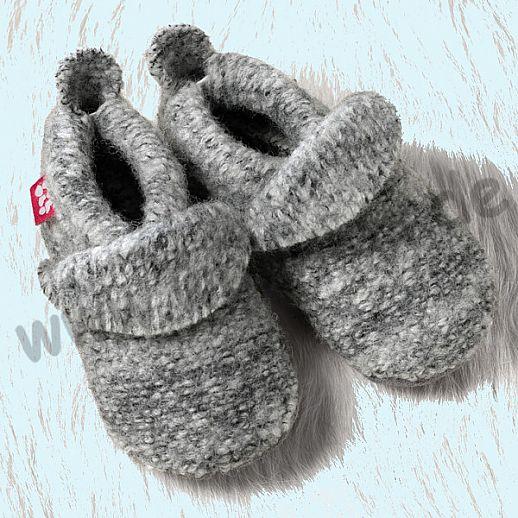 POLOLO: WOLLI Krabbelpuschen - Hausschuhe, uni grau meliert Wolle Walk BIO Ledersohle