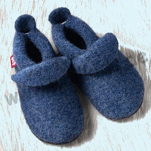 POLOLO: WOLLI Krabbelpuschen - Hausschuhe, uni jeansblau Wolle Walk BIO Ledersohle
