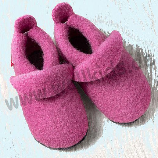 POLOLO: WOLLI Krabbelpuschen - Hausschuhe, uni pink Wolle Walk BIO Ledersohle