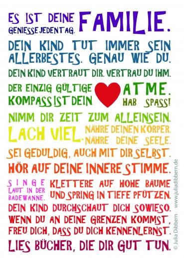 Postkarte von Julia Dibbern: Es ist Deine Familie Regenbogen