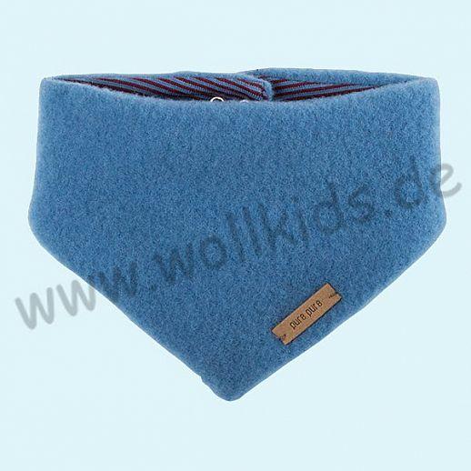 Puretex Schal, Halstuch, Tuch, Dreiecktuch kbT Schurwolle Wollfleece - azur blau