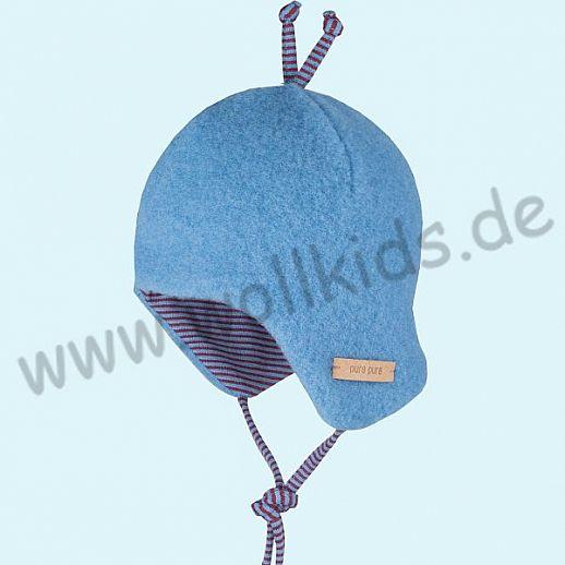 PURE-TEX Weiche Wollfleece Mütze, kbT Schurwolle azur blau - kuschelig weich - perfekter Sitz