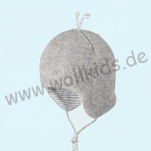 PURE-TEX Weiche Wollfleece Mütze, kbT Schurwolle hellgrau melange - kuschelig weich - perfekter Sitz