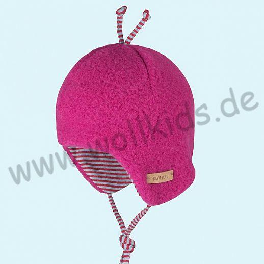 PURE-TEX Weiche Wollfleece Mütze, kbT Schurwolle pink - kuschelig weich - perfekter Sitz