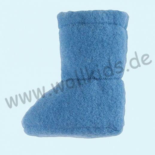 PURE PURE by Bauer: Wollfleece weiche Babystiefel - Schuhe ideal auch für Traglinge - azurblau
