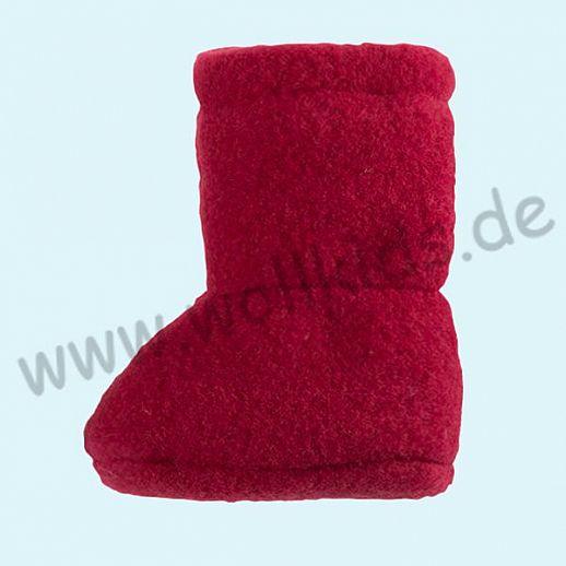 PURE PURE by Bauer: Wollfleece weiche Babystiefel - Schuhe ideal auch für Traglinge - kirsch