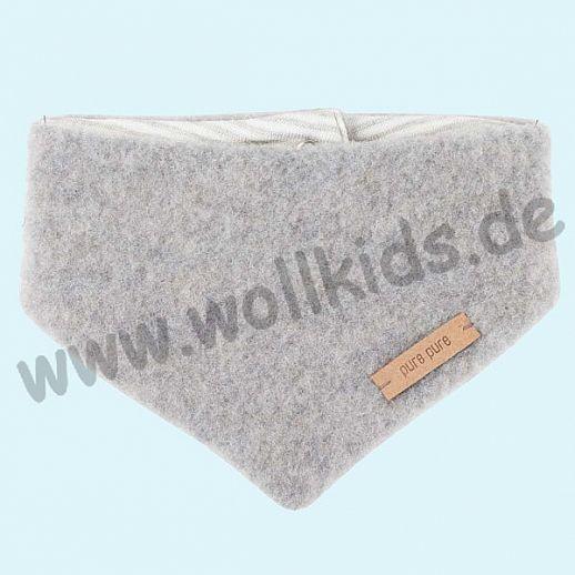 Puretex Schal, Halstuch, Tuch, Dreiecktuch kbT Schurwolle Wollfleece - hellgrau melange