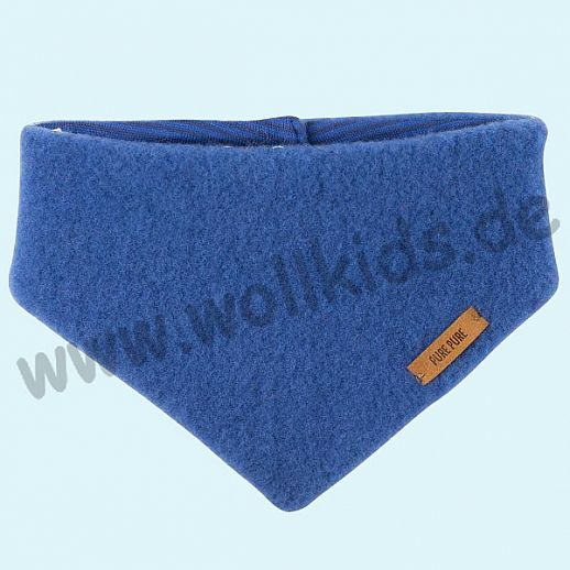 Puretex Schal, Halstuch, Tuch, Dreiecktuch kbT Schurwolle Wollfleece - blau