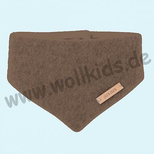 Puretex Schal, Halstuch, Tuch, Dreiecktuch kbT Schurwolle Wollfleece - walnuß
