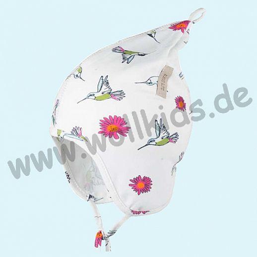 NEU: Sommermütze Baby Mütze aus feiner Bio Baumwolle Sommerblumen und Kolibris