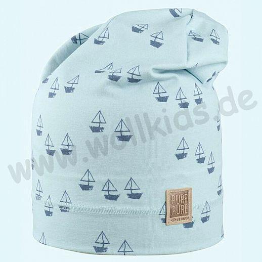 NEU: Sonnenschutz Mütze mit UV Schutz UPF 20-25 - Beanie - Segelboote blau