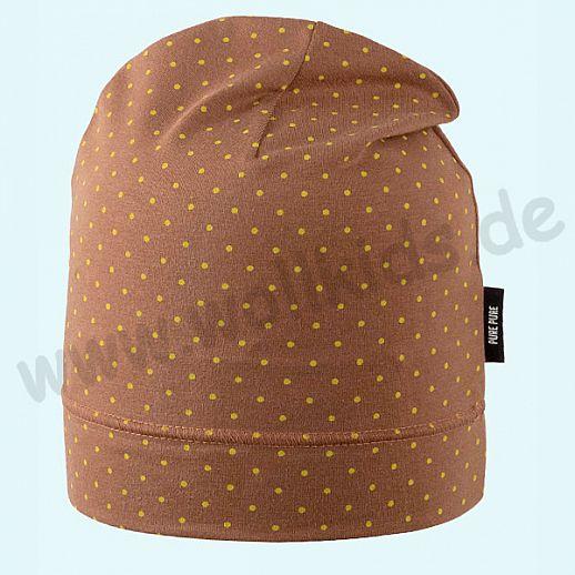 NEU: Sonnenschutz Mütze mit UV Schutz UPF 20-25 - Beanie - karamell mit safran Punkten