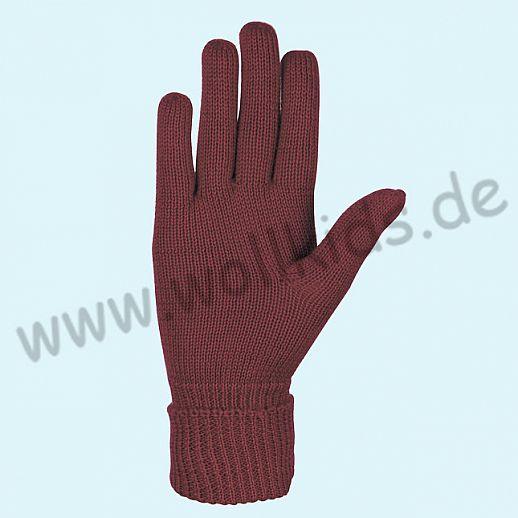 NEU & GENIAL: Endlich auch für Damen: Fingerhandschuhe aus reiner Schurwolle burgund weinrot