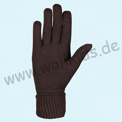 NEU & GENIAL: Endlich auch für Damen: Fingerhandschuhe aus reiner Schurwolle schoko