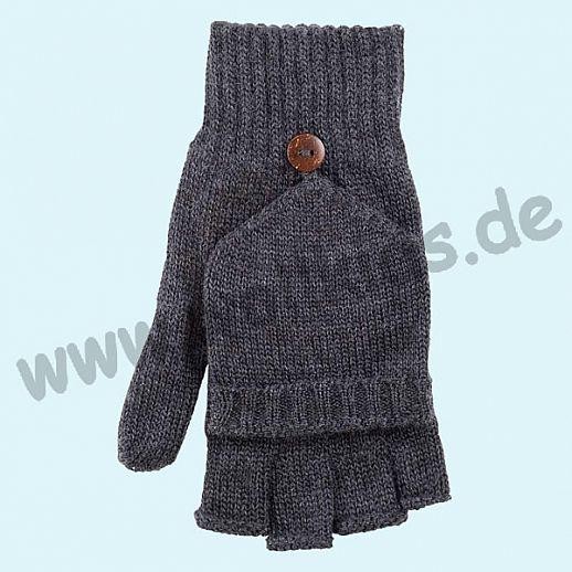 GENIAL: Halbfinger - Faust - Handschuhe aus reiner Schurwolle - Klapphandschuhe - anthrazit