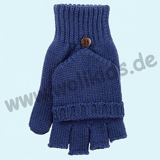 GENIAL: Halbfinger - Faust - Handschuhe aus reiner Schurwolle - Klapphandschuhe - blau