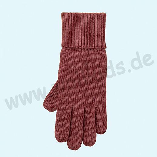 GENIAL: Fingerhandschuhe aus reiner Schurwolle für Kinder - dunkelrot