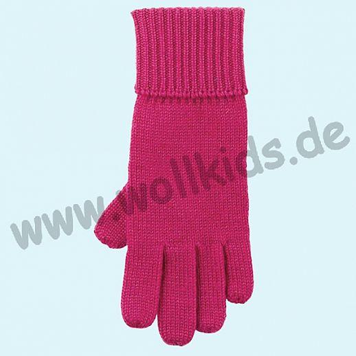 GENIAL: Fingerhandschuhe aus reiner Schurwolle für Kinder - himbeer