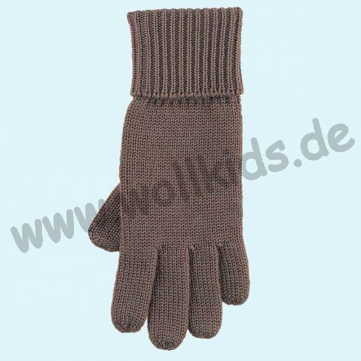 GENIAL: Fingerhandschuhe aus reiner Schurwolle für Kinder - schlamm