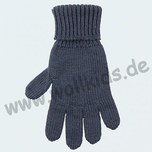 GENIAL: PurePure Fingerhandschuhe für Kinder - Schurwolle kbT mit Seide Organic blaugrau