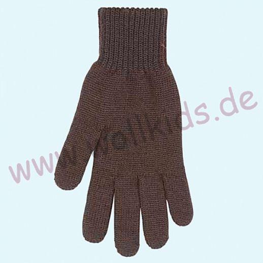 NEU & GENIAL: Endlich auch für Herren: Fingerhandschuhe aus reiner Schurwolle - schoko