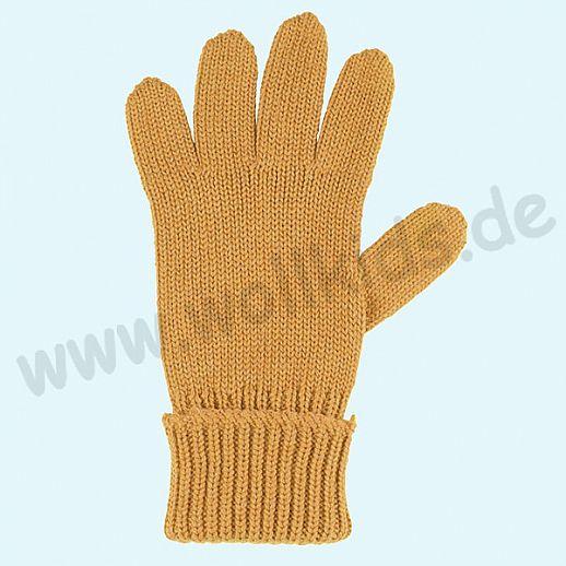 GENIAL: PurePure Fingerhandschuhe für Kinder - Schurwolle kbT mit Seide Organic bernstein