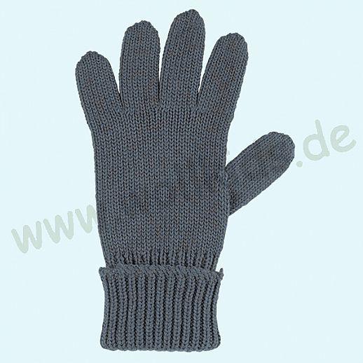 GENIAL: PurePure Fingerhandschuhe für Kinder - Schurwolle kbT mit Seide Organic taubenblau