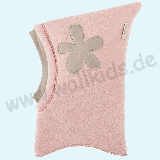 NEU: Pure-Tex Weiche Wollfleece Mütze Schlupfmütze rose mit Blume, GOTS, kbT Wolle