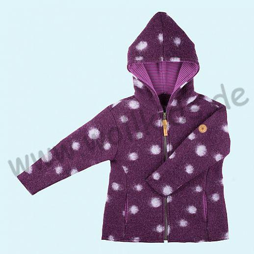 NEU: Pure-Tex Süße Walkjacke, purple mit Punkten in lavendel, kbT Schurwolle
